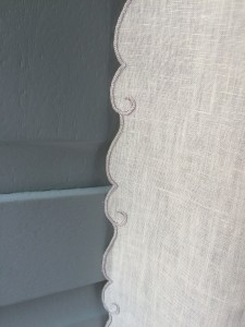 Hand embroidered unlined linen curtains