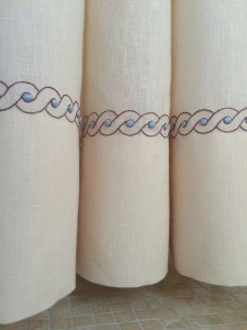 Hand embroidered bathroom curtains to match newly laid Roman mosaic