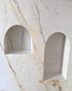 Marble pockets for toilet roll and brush