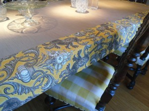 Bespoke tablecloth and re-upholstered chairs                          (Essex medieval Hall)